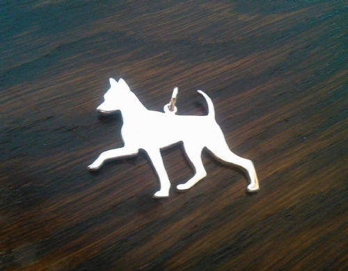 Min Pin natural ear up jaunty trot pendant sterling silver handmade by saw piercing Caroline Howlett Design